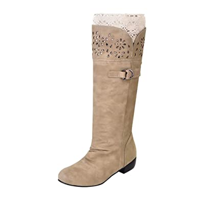 Stiefel Damen Schuhe ABsoar Boots Frauen Elegant Lederstiefel Warm  Einfarbig Stiefel Winterstiefel Sexy Flach Boden Einzelne 78c33a410f