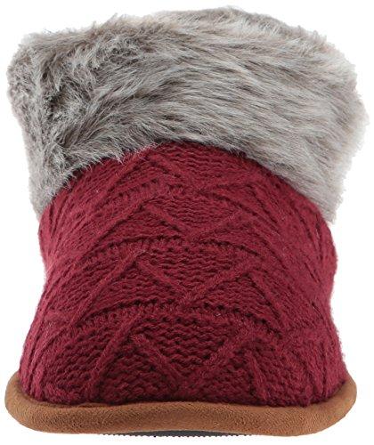 Dearfoams Womens Textured Knit Bootie w Pile Cabernet m2w0n