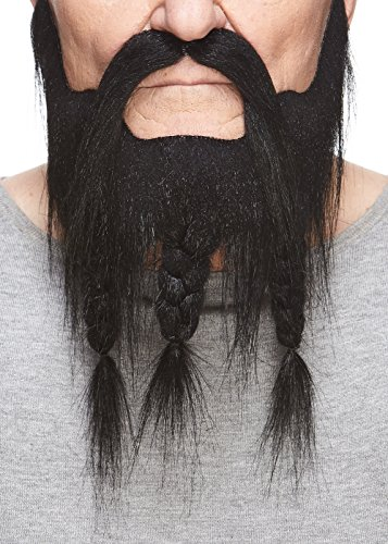 Mustaches Self Adhesive, Novelty, Braided, Captain Fake Beard and Fake Mustache, False Facial Hair, Costume Accessory for Adults, Black Color -