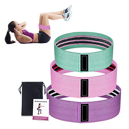 INTSUN Resistance Bands for Legs and Butt, Hip Booty Bands Loop Exercise Bands Anti-Slip Fitness & Workout Bands 18 to 70lb for Body Stretching, Yoga, Muscle Training - Set of 3 with Travel Bag