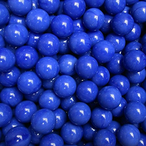 "Unique & Custom {9/16"" Inch} Approx 2 Pound Set of Approx 240 ""Round"" Opaque Marbles Made of Glass for Filling Vases, Games & Decor w/ Royal Cobalt Tone Smooth Swirl Texture Design [Bright Blue Color]"