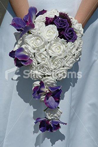 Stunning White Rose Bridal Bouquet with Purple Vanda Orchids Silk Blooms Ltd 2689
