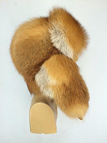 - Natural Red Fox Fur Full Ushanka Hat For Men's 22.5' - 24' - Adjustable