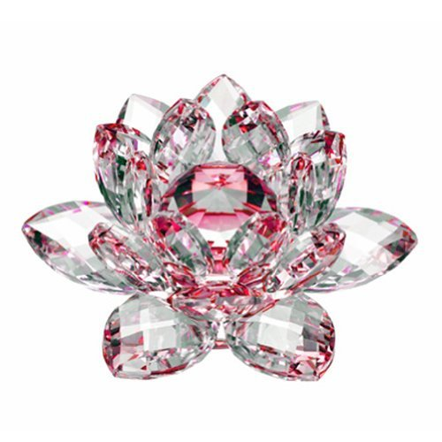 Amlong Crystal Hue Reflection Crystal Lotus Flower with Gift Box, Red (4 Inch)