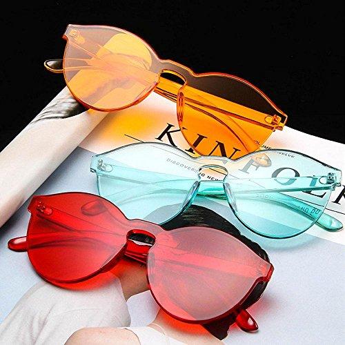plástico verde transparentes pieza Aolvo mujer profundo gran sol Gafas Cateye de una sin Vintage marco borde coloridas Rojo tamaño sin de para 6Rvxg6