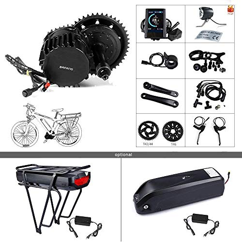 BAFANG Newest Version BBSHD 52V 1000W Motor Electric Bike Conversion Kit with LCD Display 860C and Chairing T44 (52V 14Ah Shark Battery)