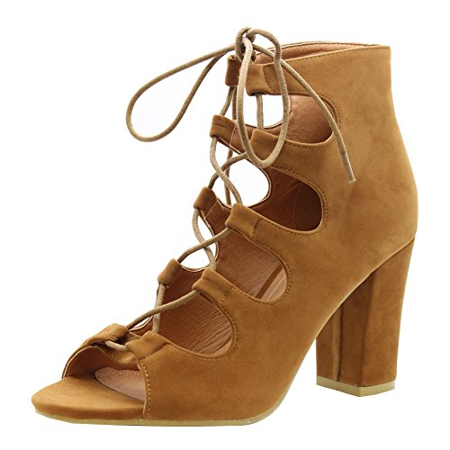 SAUTE STYLES Ladies Women Lace Up High Heels Ankle Strap Strappy Gladiator Sandals Shoes Size 3-8 Tan Camel Faux Suede Block Heel GXPnlsWxD