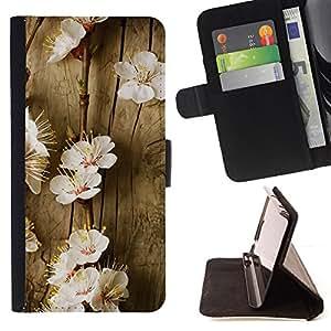 BullDog Case - FOR/Samsung Galaxy S6 / - / flowers spring tree blossoming white nature /- Monedero de cuero de la PU Llevar cubierta de la caja con el ID Credit Card Slots Flip funda de cuer