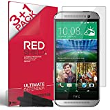 [RED SHIELD] High Definition Ultra Premium 3 Pack Clear Screen Protectors + 1 Free Screen Protector for All New HTC One 2014 (M8) **NEW Release** (Compatible with All HTC ONE M8 Models, including HTC One+, HTC One Plus, HTC ONE 2, HTC One Two)