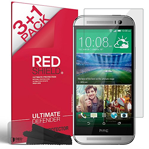 HTC One M8 Screen Protector, RedShield® [Crystal Clear] [3 Pack + 1 more] Invisible Ultra High Definition Front Screen Protector for HTC One M8 (2014)