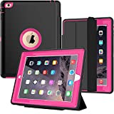 iPad 2/3/ 4 Case with Smart Cover, SEYMAC Three Layer Drop Protection Rugged Protective Heavy Duty iPad Case with Magnetic Smart Auto Wake/Sleep Cover for iPad 2/3/4 (Black/Rose)