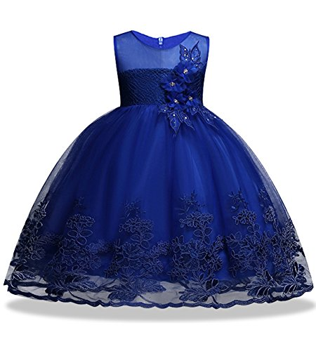 KISSOURBABY Tutu Dresses for Girls Beauty Pageant Dress 7 Years Old Size 4 8 2-8T Princess Girl Pageant Party Tulle lace Ruffle Dress Sleeveless Knee(Navy 120) ()