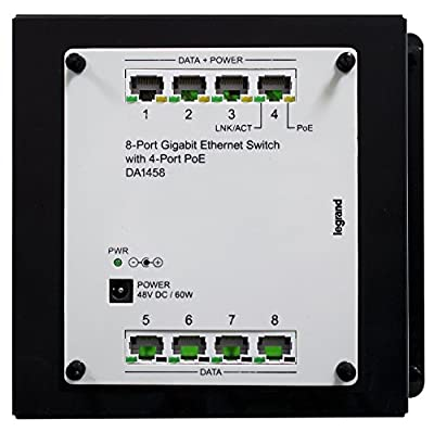 Legrand - On-Q DA1458 8Port Gigabit Switch with PoE, Platinum Grey