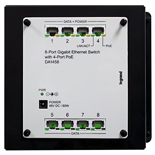 Legrand - On-Q DA1458 8Port Gigabit Switch with PoE, Platinum Grey by Legrand-On-Q