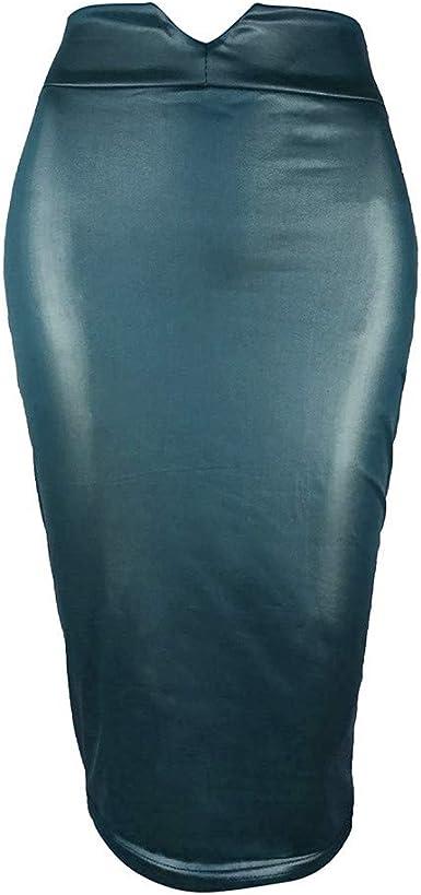 Sylar Mujer Falda de Tubo Larga lápiz Falda de Cuero Cintura Alta ...