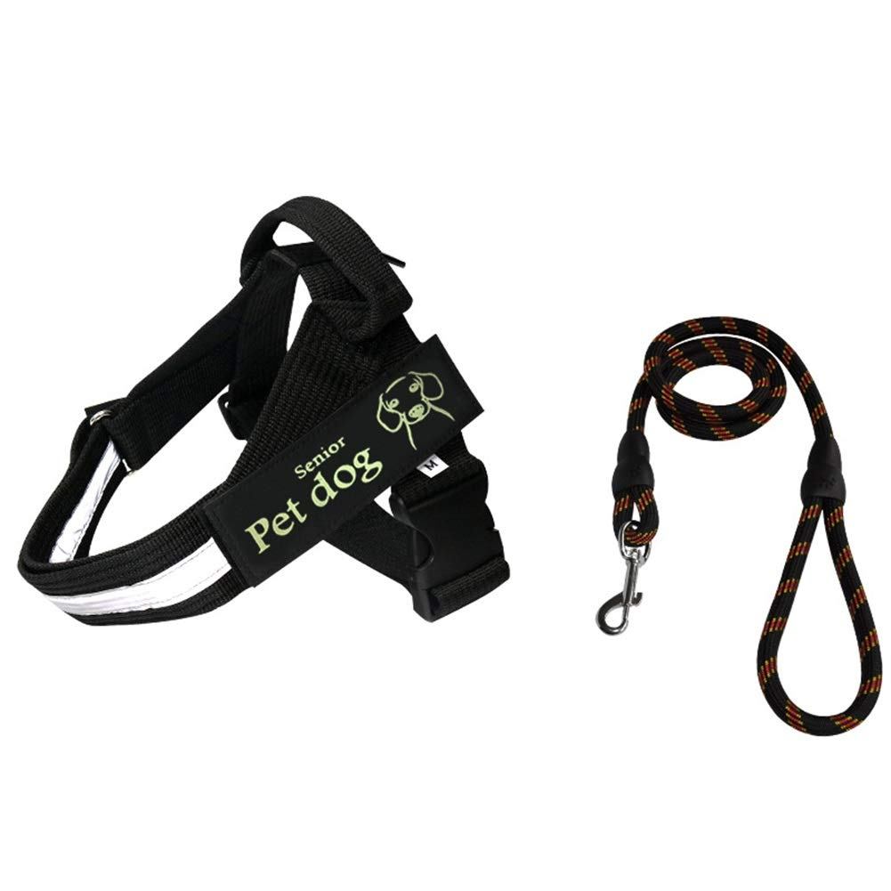 BLACK S(47-65cm) BLACK S(47-65cm) Dog Vest Harness, Chest Strap+Traction Rope Two-Piece Suit Cat Universal Buffer Rope Suitable for Teddy Small Medium Large Dogs Safety Leash Harness (color   Black, Size   S(47-65cm))