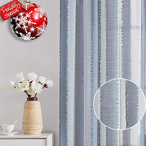 Fragrantex Blue Striped Curtains 84 inches Long for Living Room Eyelash Décor Window Voile Draperies for Bedroom Patio, 38
