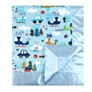 "My Blankee Up in the Sky Minky Blue w/ Minky Dot Blue Baby Blanket, 30"" x 35"""