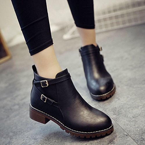 KHSKX-Low Heel Side With Flat Bottom Round Head Short Tube Boots Chelsea Boots Women Spring And Winter Korean Version Of Bare Boots Student Shoes Black