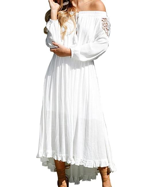 Mujer Vestidos Fiesta Largos De Noche Fuera De Hombro Manga Larga Vestido Coctel Partido Vestido blanco
