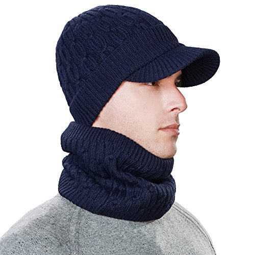 2 Piece Wool Knit Hat & Scarf Sets Visor Beanie Fleece Lined Cold Weather Winter Hat Jeep Cap w/Neck Warmer ()