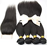 5Pcs Lot Brazilian Virgin Hair Straight 7A unprocessed 4 Human Hair Bundles With 1Pcs Lace Top Closure Brazilian Remy Hair Extensions Weft With Closures (14 16 18 20+12)