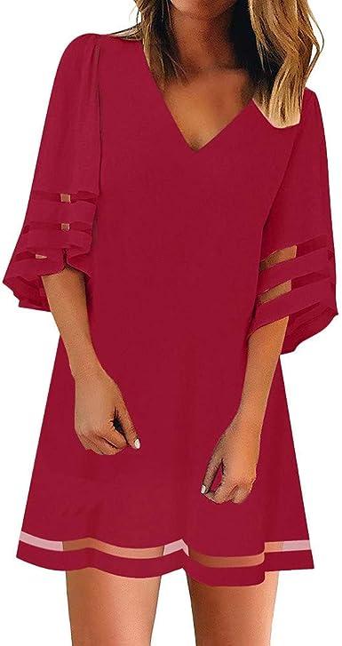 Kneris Mujer Vestido Casual de Vestidos Cuello En V Túnica ...