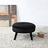 15 Inch High Ottoman Divano Roma Furniture Classic Tufted Large Velvet Round Footrest/Footstool / Ottoman (Black)