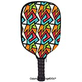 AngelDOU Grunge Lightweight Neoprene Pickleball Paddle/Racket Cover Case Colorful Graffiti Design Abstract Geometric Pattern Retro Inspired Illustration Decorative Durable and Portable.Multicolor