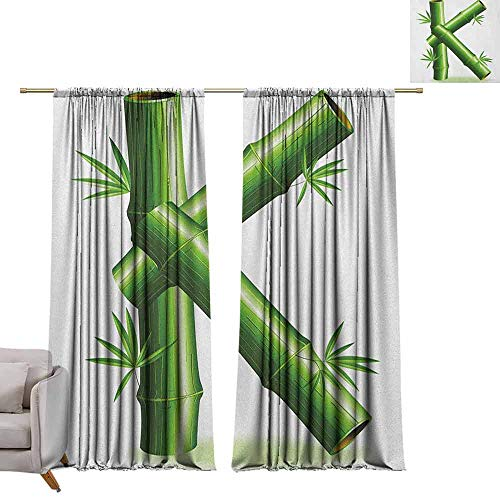 Bedroom Curtains Letter K,Bamboo Letter K Capital Green Leafs Nature Inspired Alphabet Font Design Print, Green White W96 x L96 Printed Window Curtains for Kitchen