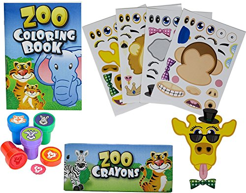 Land Gift Set - 12 Animal Coloring Books and Crayons, 12 Jungle Zoo Stampers, 12 Sea Fish Stickers, Party Favor Set (1 Dozen of Each ) By Fun Land