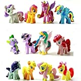 Baken 12 Pony Dolls Figures with 24 Cupcake Pick, 1.5-2 Tall My Little Pony Figure Toys For Kids Cupcake Cake Toppers