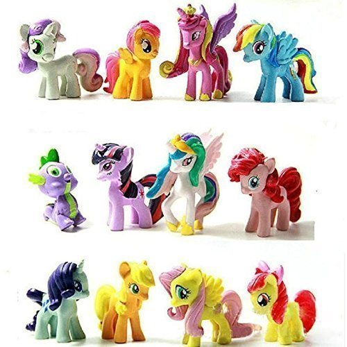 Top Valu 12pcs My Little Miss Pony Colorful Cupcake Cake Topper PVC Action Figures Kids Girl Toy Dolls Decoration Birthday Function Party Cake Kitchen Dish Plate Table Decoration Figure (Miss Cake My Little Pony)