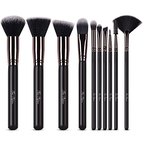 Makeup Brushes Set 10pcs Professional Makeup Kit for Powder Mineral Foundation Blending Blush Buffing Perfect for Contouring Fan Brush Eyelash Mascara Wands Brush