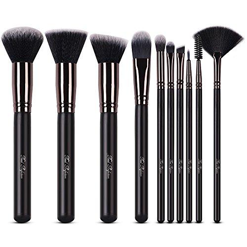 Makeup Brushes Set 10pcs Professional Makeup Kit for Powder Mineral Foundation Blending Blush Buffing Perfect for Contouring Fan Brush Eyelash Mascara Wands (Brush Kit Brushes)