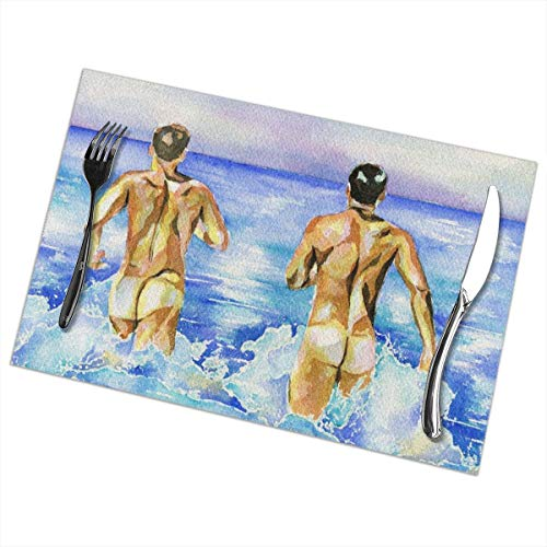 - Watercolor Gay Male Nude Beach Pleasure Akirasa Clean Dining Heat Resistant Placemat Stain Resistant Washable Kitchen Table Mats 12x12 In(6 Set)