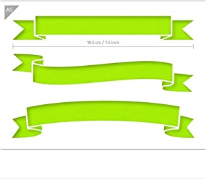 Banner Shapes Stencil - Card or Plastic - A5 5.8 x 8.3 inch – First Banner Width 7.5 inch - Reusable, Kids Friendly Stencil - Painting, Crafts, Cakes, Wall and Furniture Stencil (Plastic)