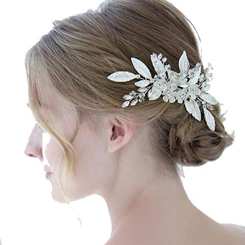 (Silver Leaf Bridal Hair Comb Floral Headpiece Wedding Hair Accessories Women Hair Jewelry Bridal Hair Pins Wedding Party Ornament)