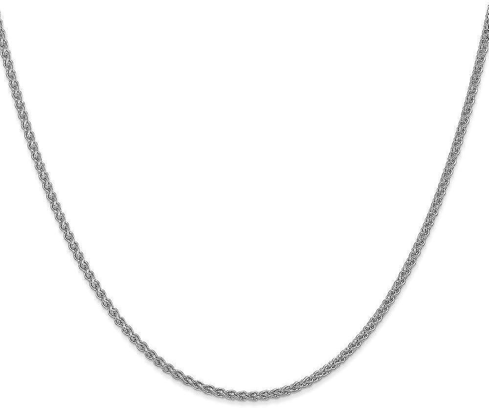 Brilliant Bijou 14k Solid White Gold Spiga Wheat Braided Pendant Chain Necklace