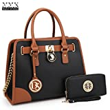 MMK Collection Medium Size Vegan Leather Two-Tone Women Satchel with Chain Shoulder Strap and FREE Matching Wallet~Popular Gift for Lady~Amazing Travel Handbag(6892W) (XL-MA-02-6892-W-BK)