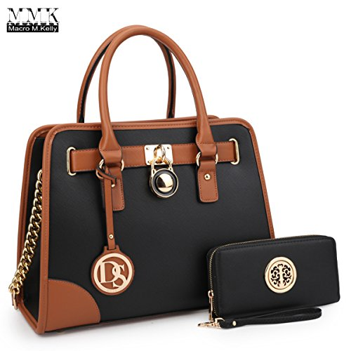 Leather Kelly Purse Handbag (MMK Collection Medium Size Vegan Leather Two-Tone Women Satchel with Chain Shoulder Strap and FREE Matching Wallet~Popular Gift for Lady~Amazing Travel Handbag(6892W) (XL-MA-02-6892-W-BK))