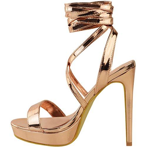 Moda Sete Piattaforma Donna Tacchi A Spillo Sandali Con Tacchi Strappy Scarpe Con Lacci Rosa Oro Metallizzato