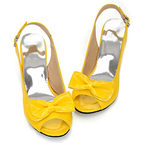 (Summerwhisper Women's Sexy Peep Toe Bowknot Buckled Slingback Kitten Heel Patent Leather Sandals Yellow 6.5 B(M) US)
