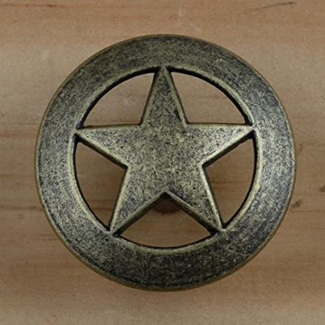 Set Of 6 Lone Star Drawer Pulls Cabinet Knobs Western Southwest Decor Texas Antique Brass