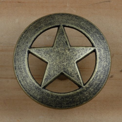 Set of 24 Lone Star Drawer Pulls Cabinet Knobs Western Southwest Decor Texas (Antique ()