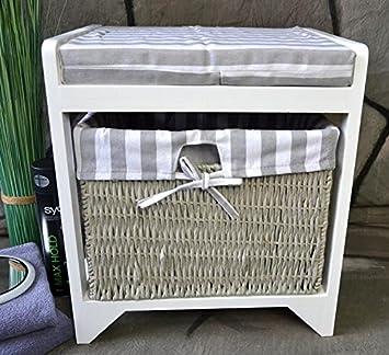 Livitat® Badhocker Hocker Sitzhocker Korb Badezimmerhocker Wäschekorb  Landhaus LV1010
