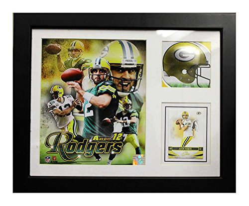 Encore Select 141-01 NFL Green Bay Packers Deluxe Frame Aaron Rodgers #12 Print, 11-Inch by 14-Inch - Green Bay Packers Deluxe Helmet