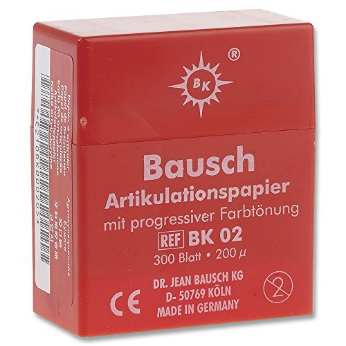 Bausch Articulating Paper 200u (.008'') Red w/ dispenser BK-02 (300)