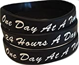 """Set of 3 Black One Day At A Time / 24 Hours A Day Silicone Wrist Bands 2.5"""" Wristband Bracelet AA NA offers"""