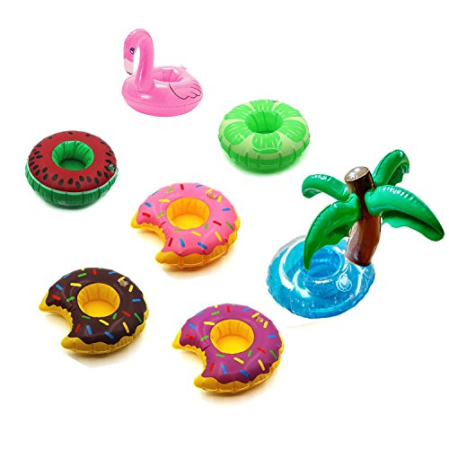 Miraclekoo Inflatable Pool Party Drink Floats Swimming Drink Holder - Fruits, Donuts, Flamingo , Palm (Set of
